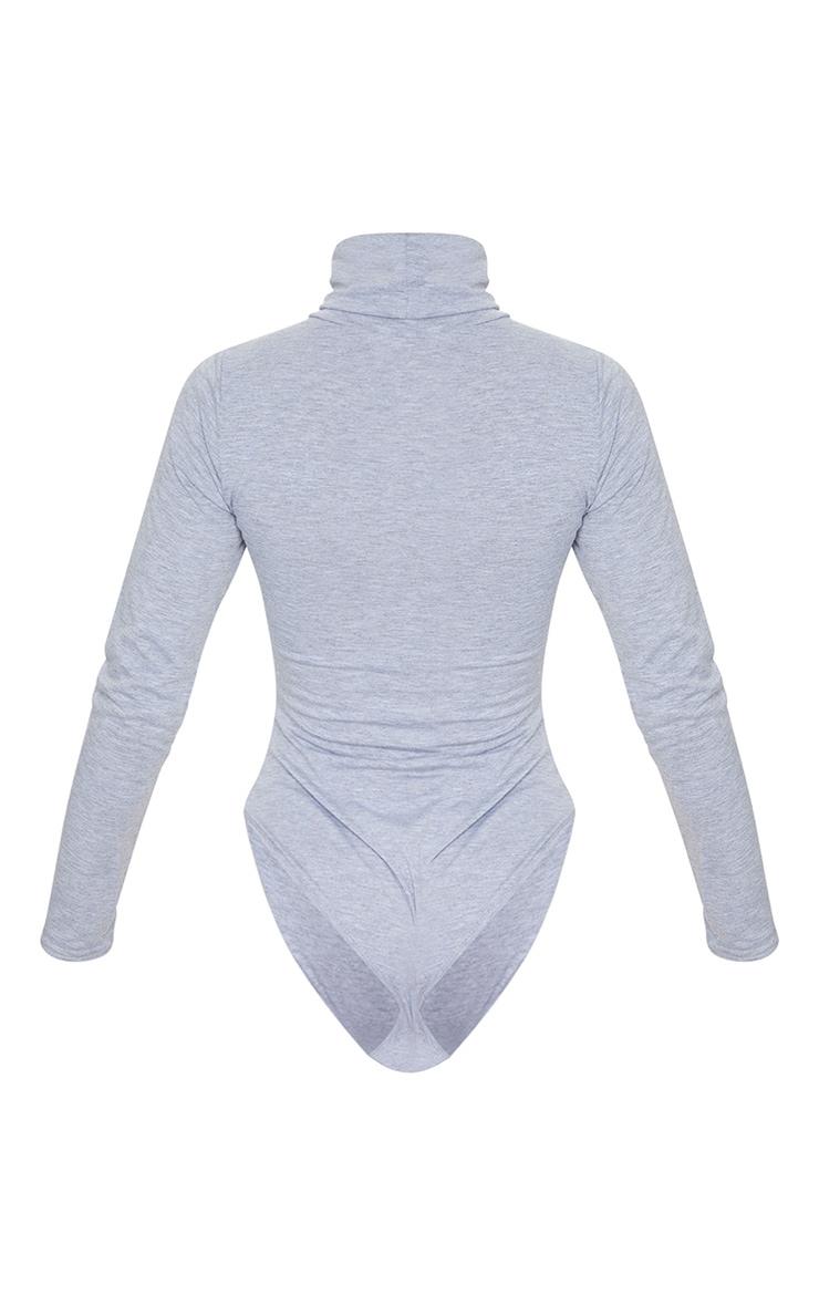 Basic Grey Marl Cotton Blend Roll Neck Bodysuit 6