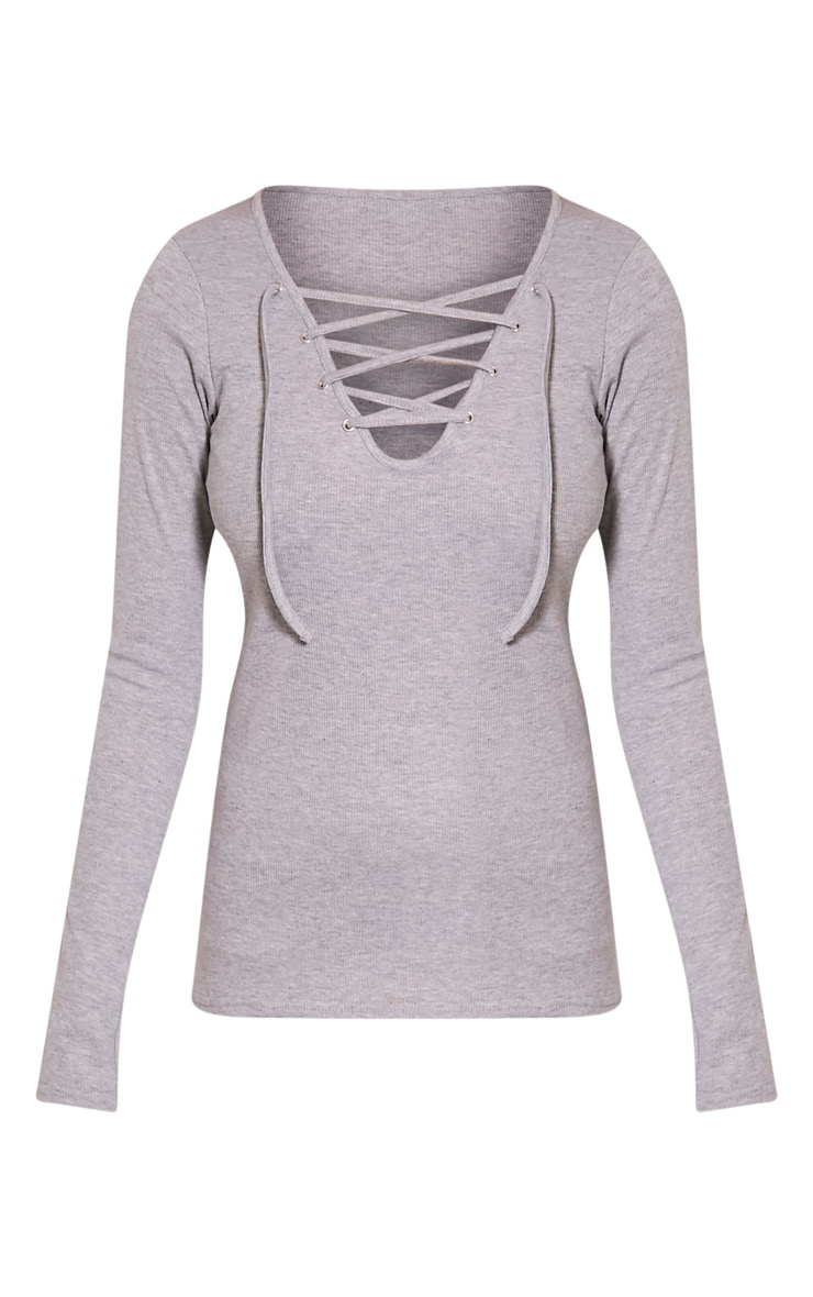 Luco Grey Lace Up Ribbed Top 3