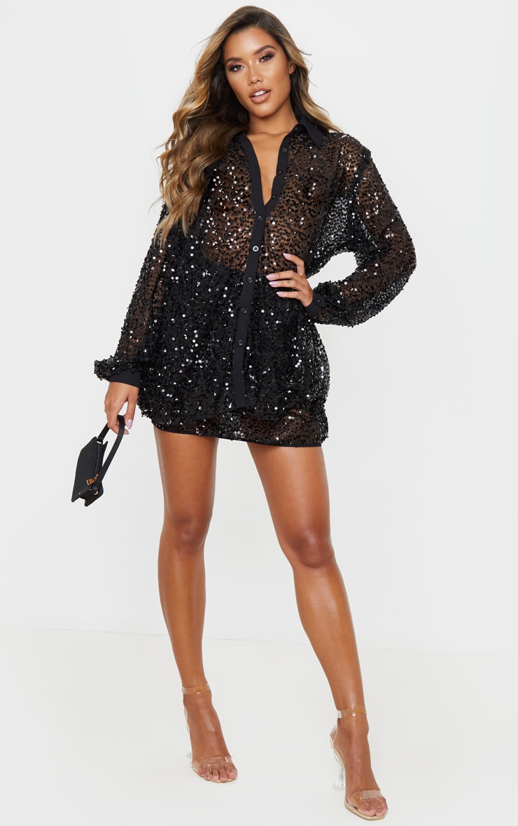 Black Mesh Sequin Oversized Shirt 4