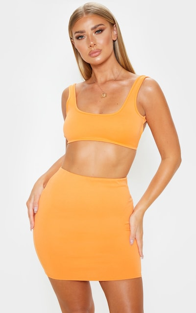 Orange Crepe Scoop Neck Strap Crop Top