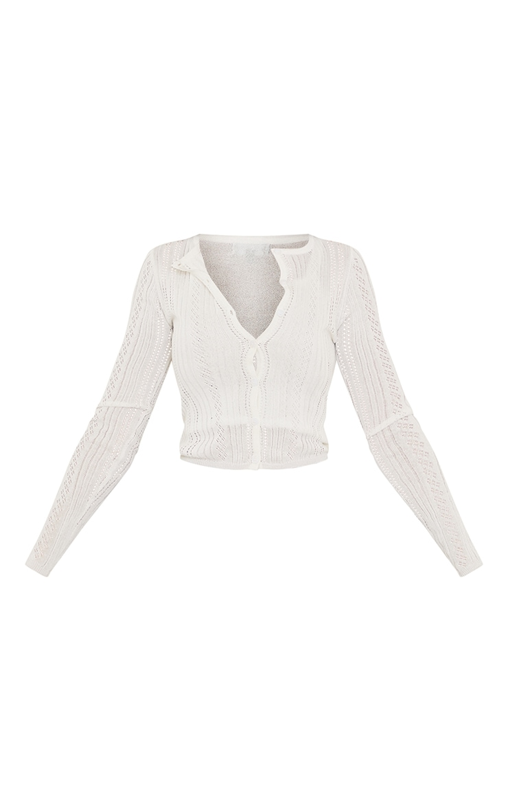 Cream Ruched Front Knitted Pointelle Top 5