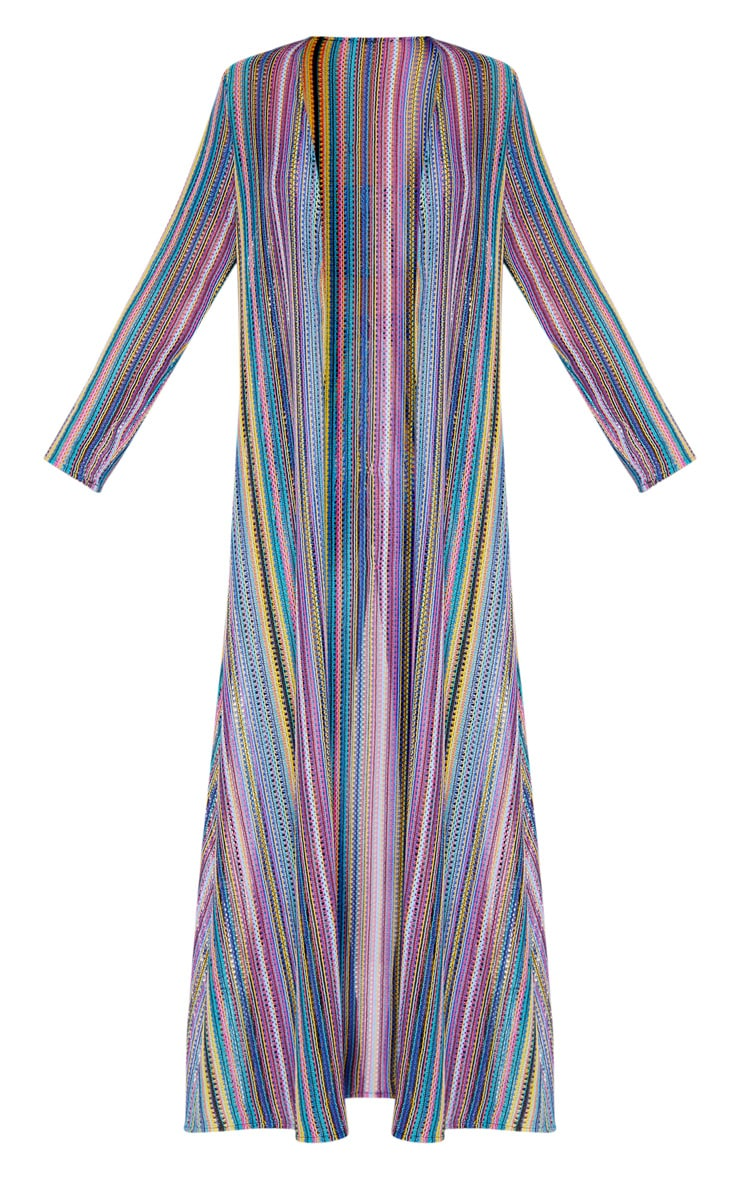 Multi Crochet Stripe Maxi Cardigan  4