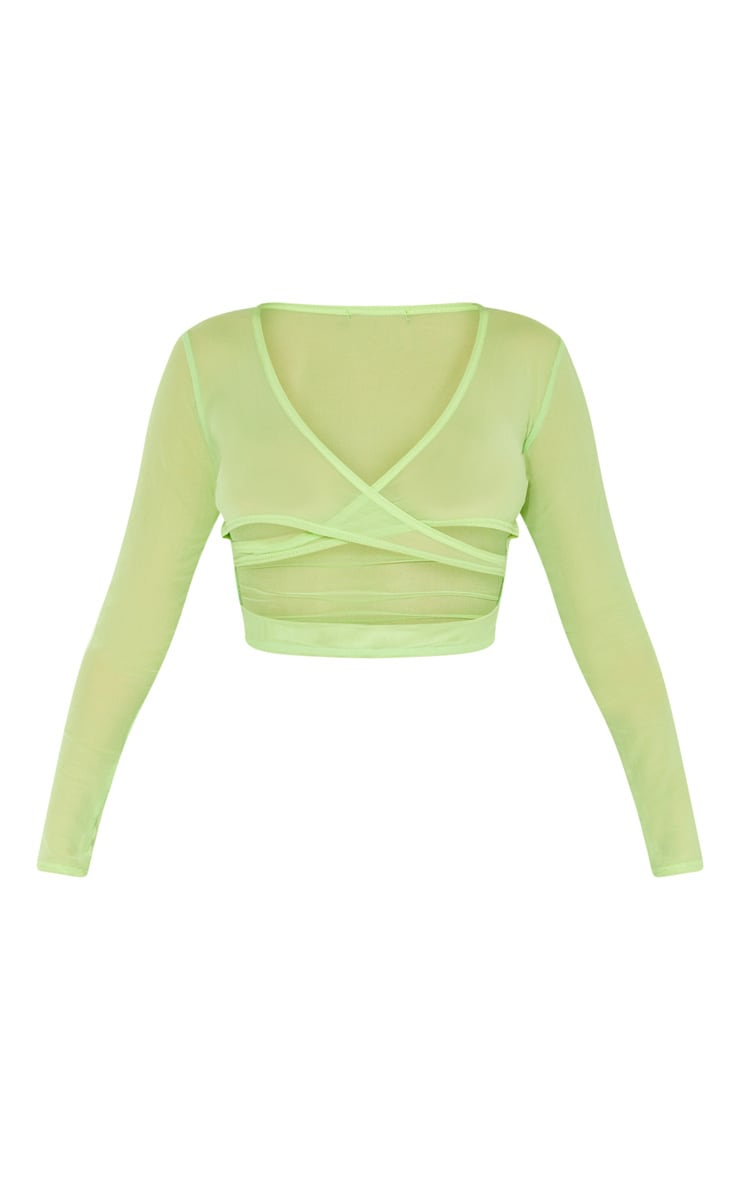 Light Lime Mesh Wrap Long Sleeve Crop Top 3