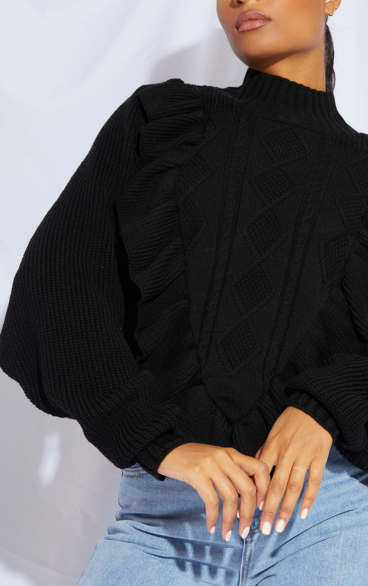 Black Frill Cable Turtle Neck Jumper 4