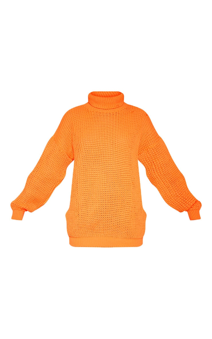 Tall Neon Orange Roll Neck Oversized Chunky Knit Jumper 3