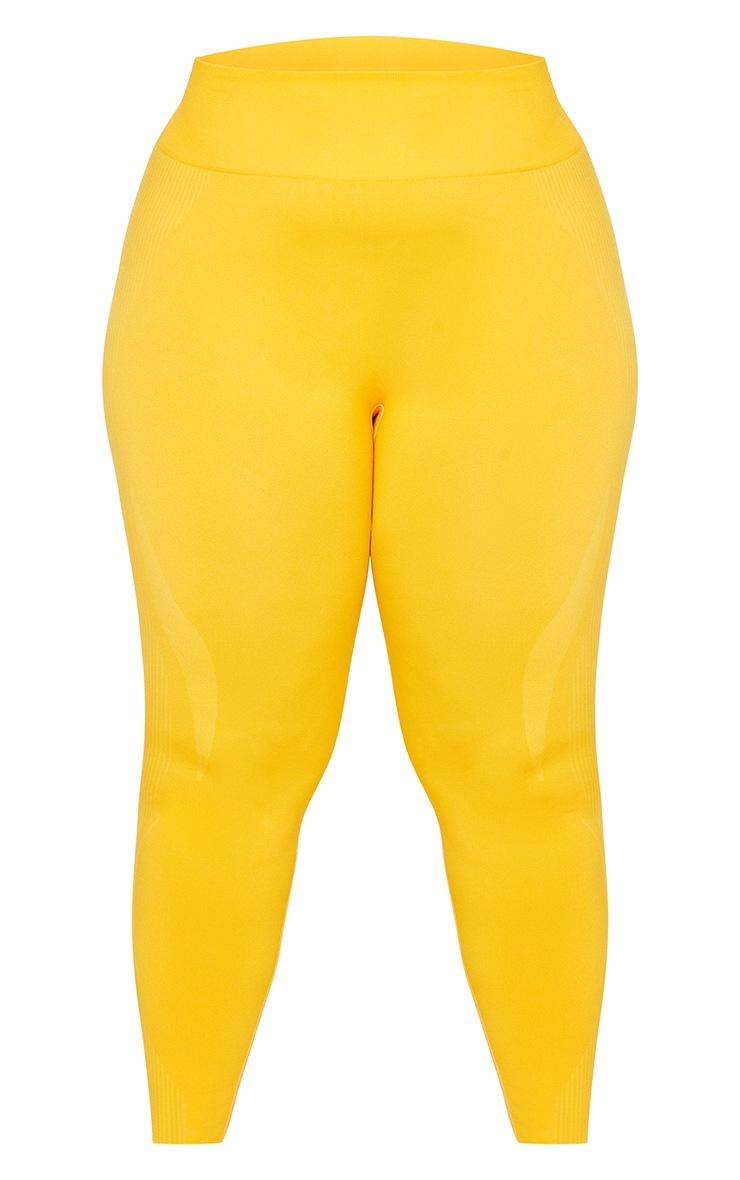 Plus Orange Basic Detail Seamless High Waist Gym Leggings 5