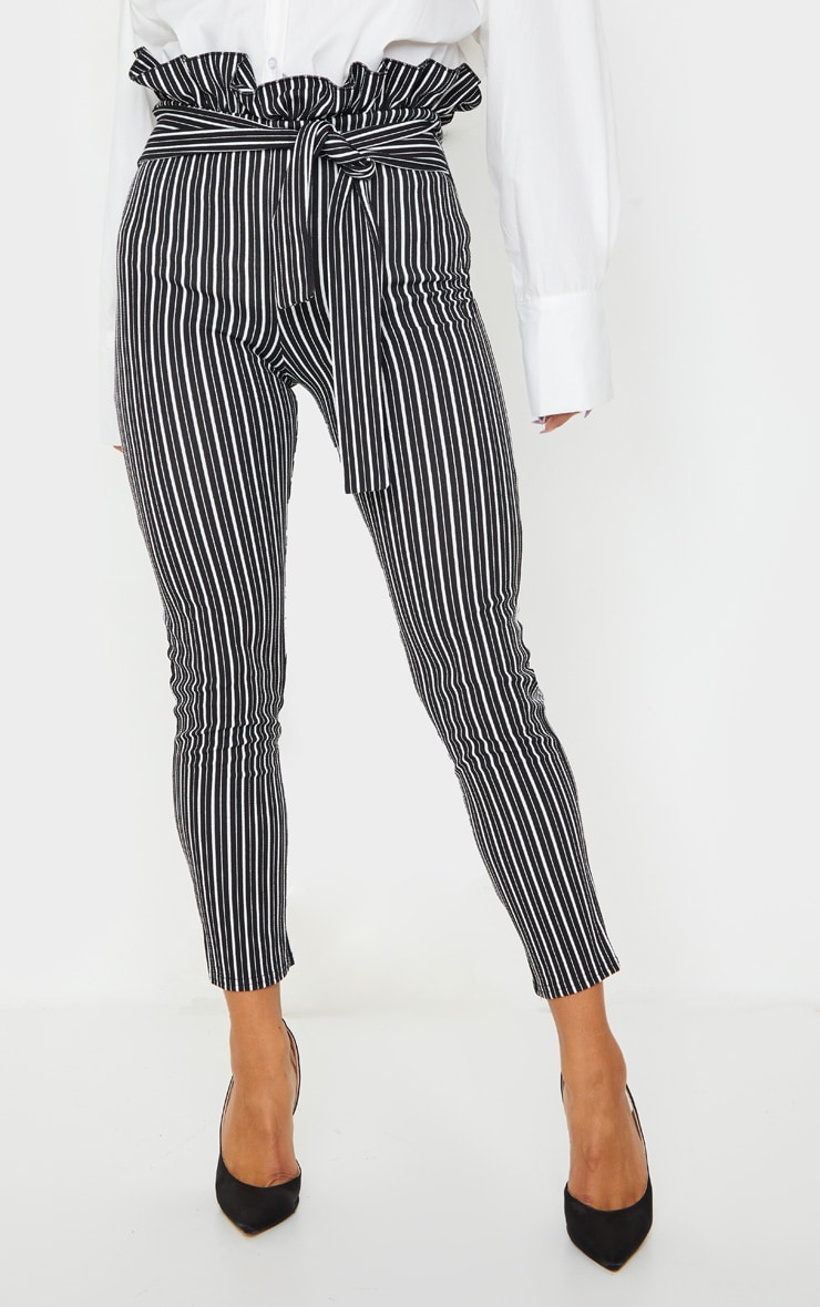 Black Stripe Paperbag Skinny Pants 2