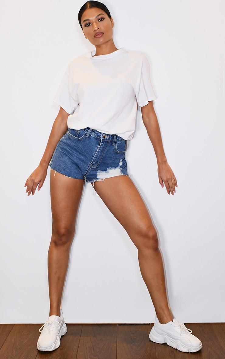 PRETTYLITTLETHING Mid Blue Wash Distressed Denim Mom Shorts 4