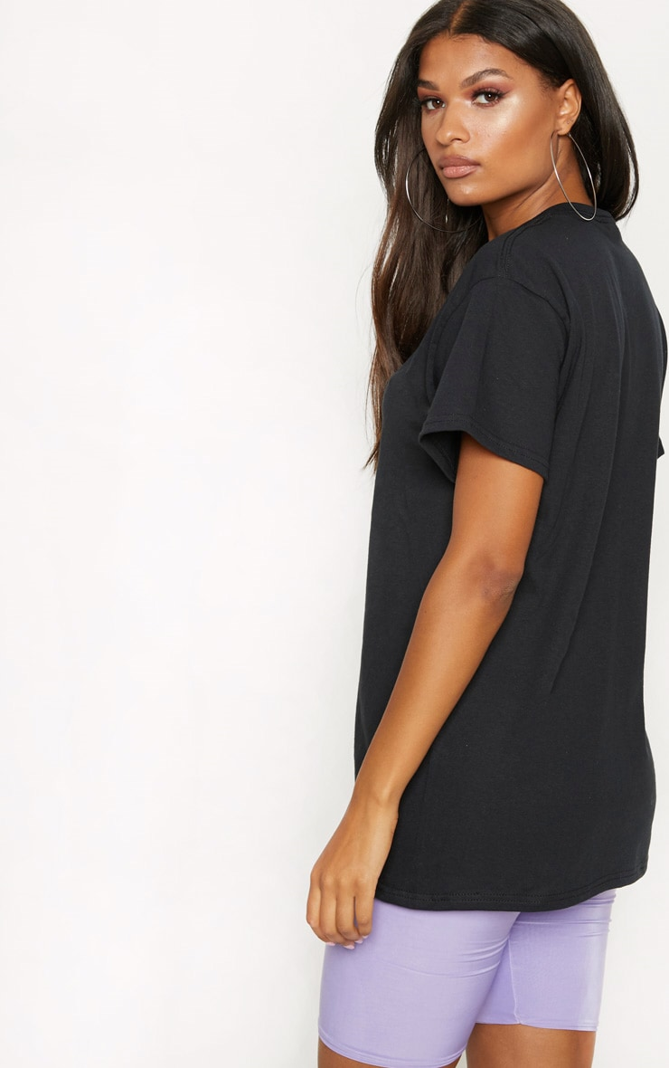 PRETTYLITTLETHING Black Embroidered T Shirt 2