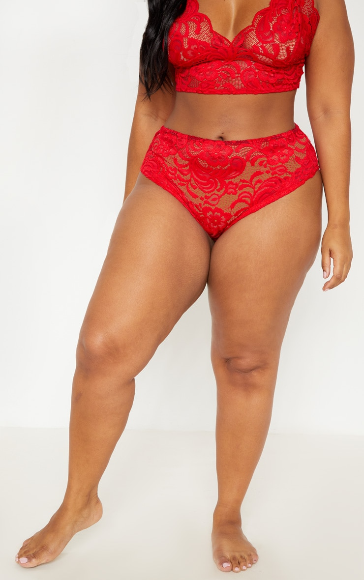 Plus Red Scallop Edge Lace Panties 2