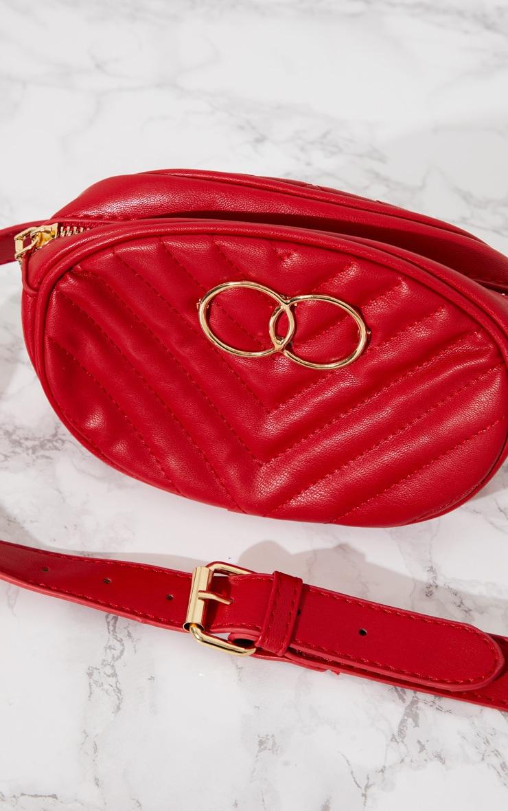 Red Double Circle Chevron Bum Bag 4