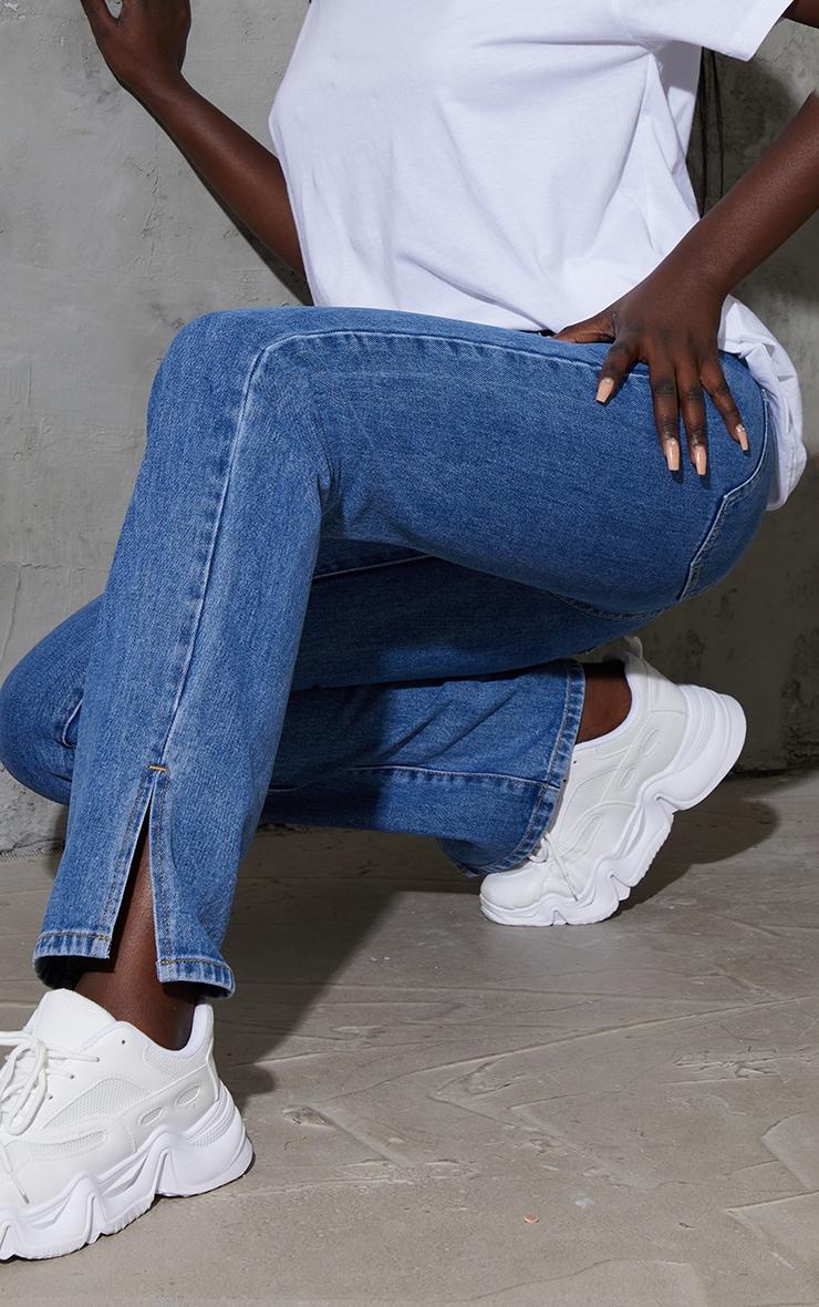 Tall Mid Blue Low Rise Split Hem Jeans 4