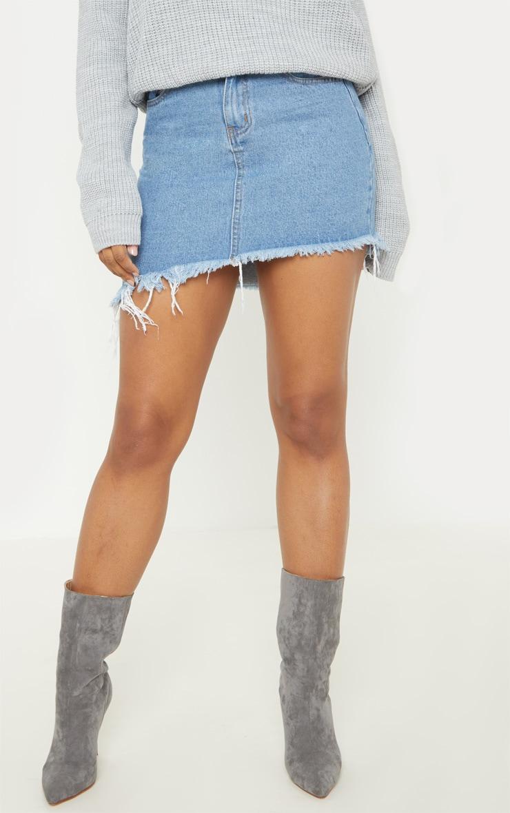 Tall Mid Wash Frayed Hem Asymmetric Denim Skirt 2