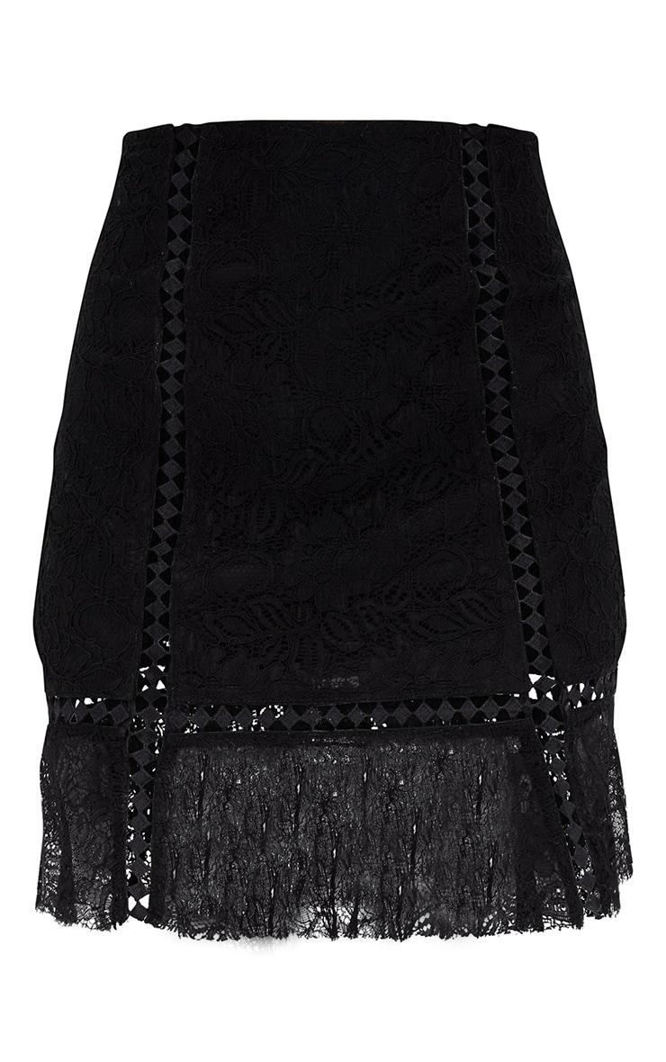 Black Lacey Trim Detail Frill Hem Mini Skirt 3