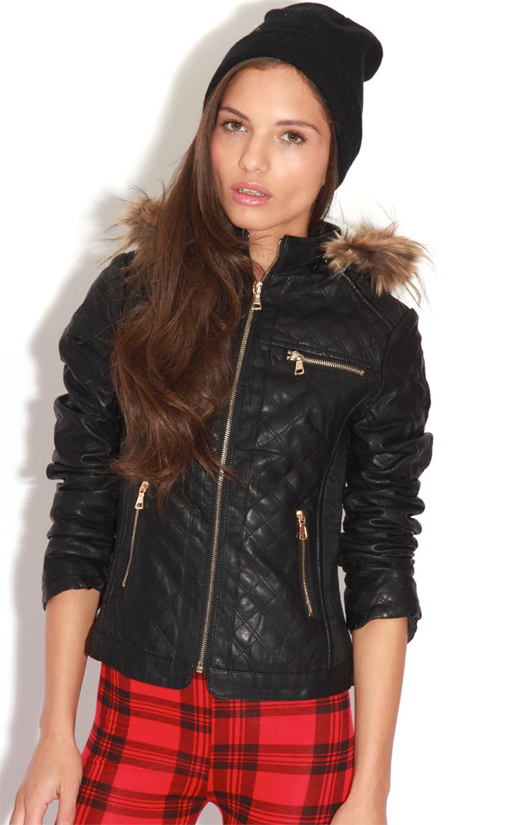 Jasmin Black Quilted PU Jacket 1
