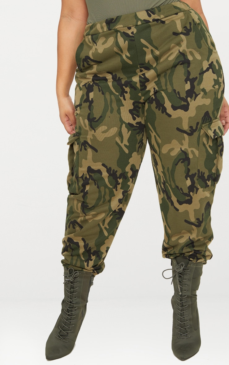 Plus Khaki Camo Pocket Detail Joggers 2