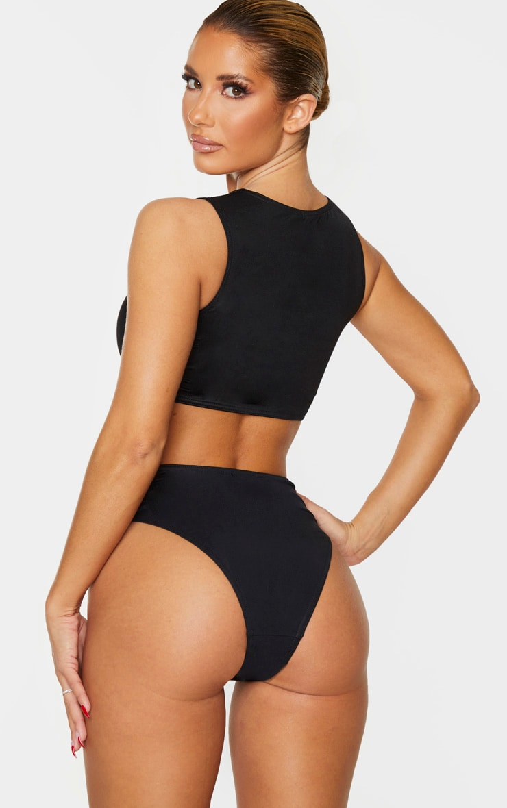 Black High Neck High Waist Bikini Set 2