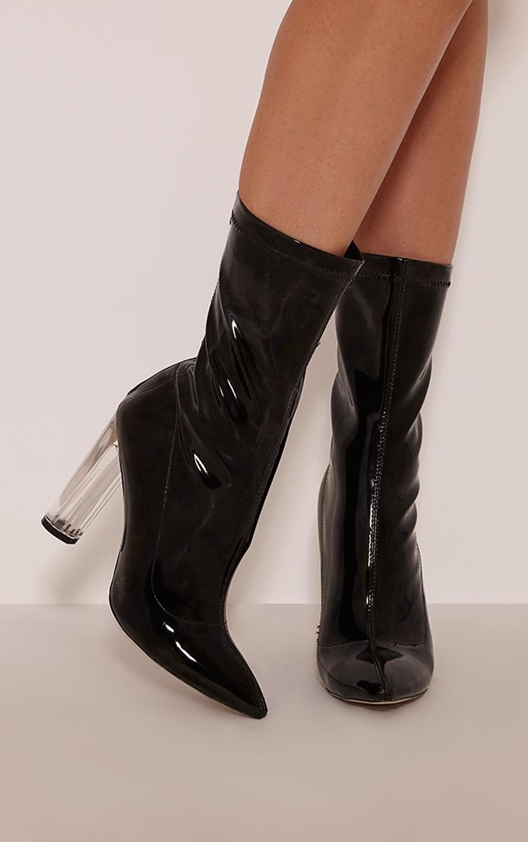 Ella Black Perspex Heel Boots 1