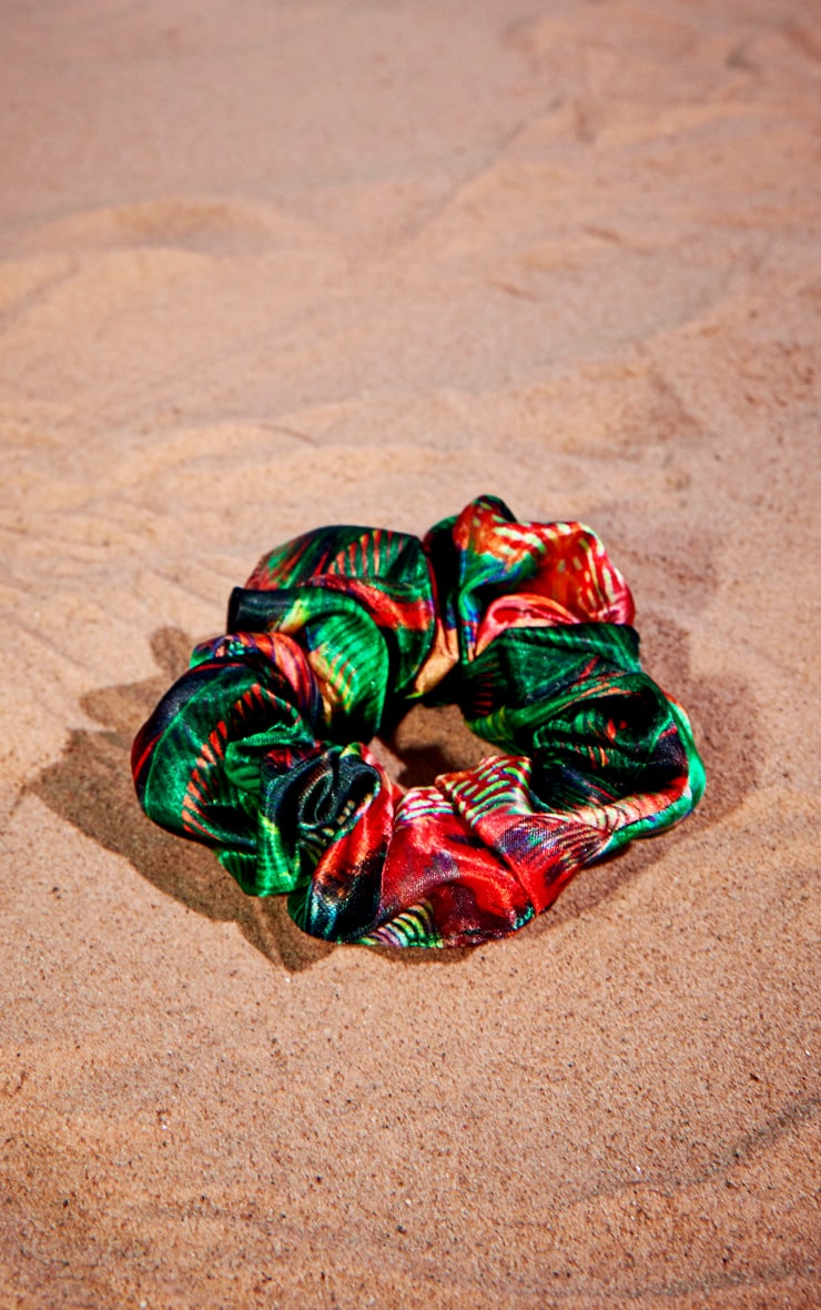 Jungle Print Satin Scrunchie 2