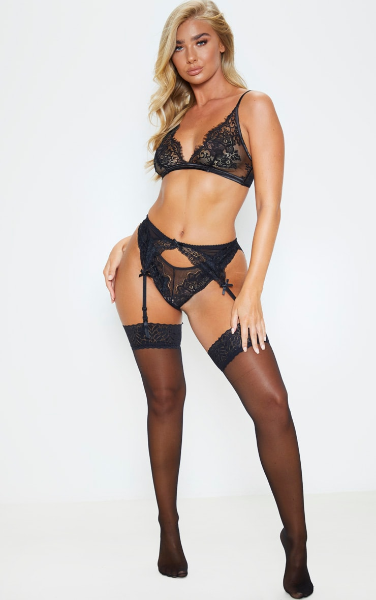 Black Lace Suspender Belt And Pantie Sets 4