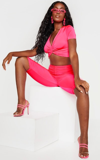 Neon Pink Slinky Ruched Cycle Short