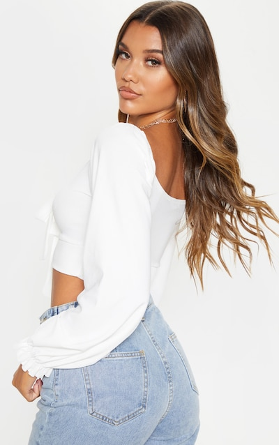 White Puff Long Sleeve Tie Front Crop Top