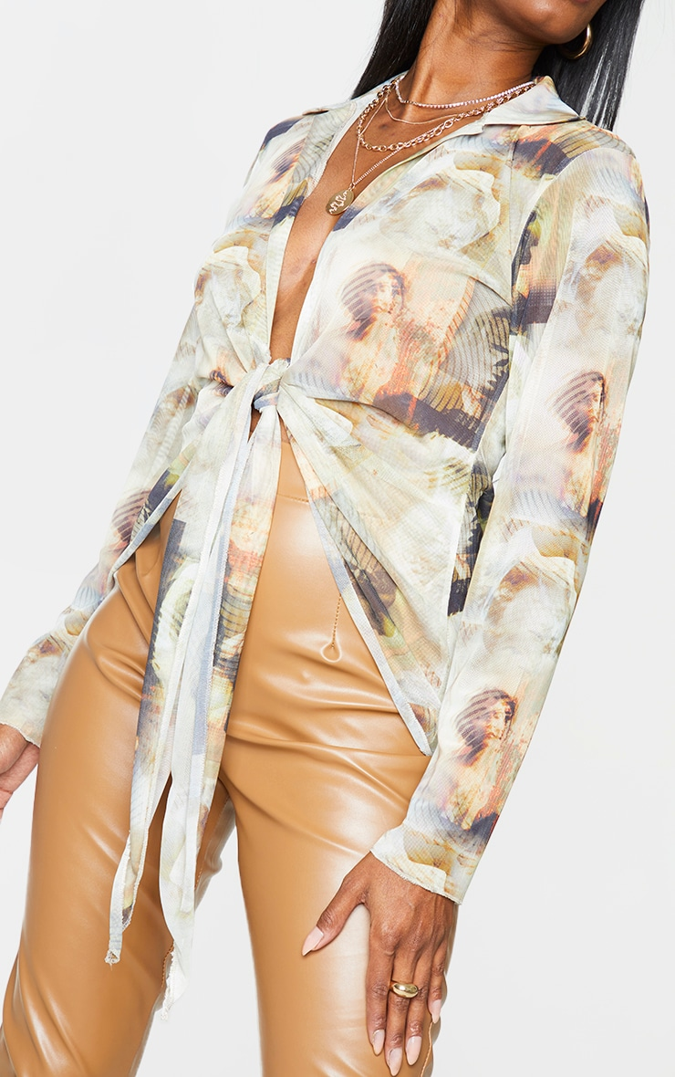 Nude Mesh Abstract Renaissance Print Plunge Tie Front Long Sleeve Shirt 4