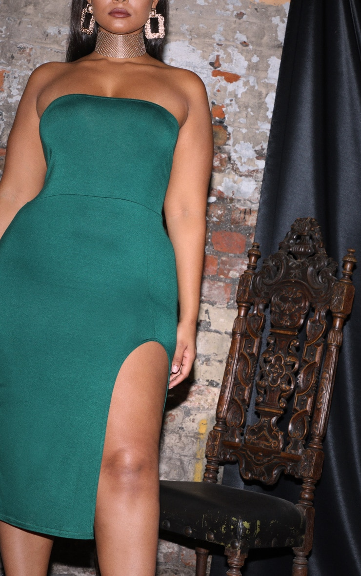 Plus Emerald Green Bandeau Split Front Midi Dress 5