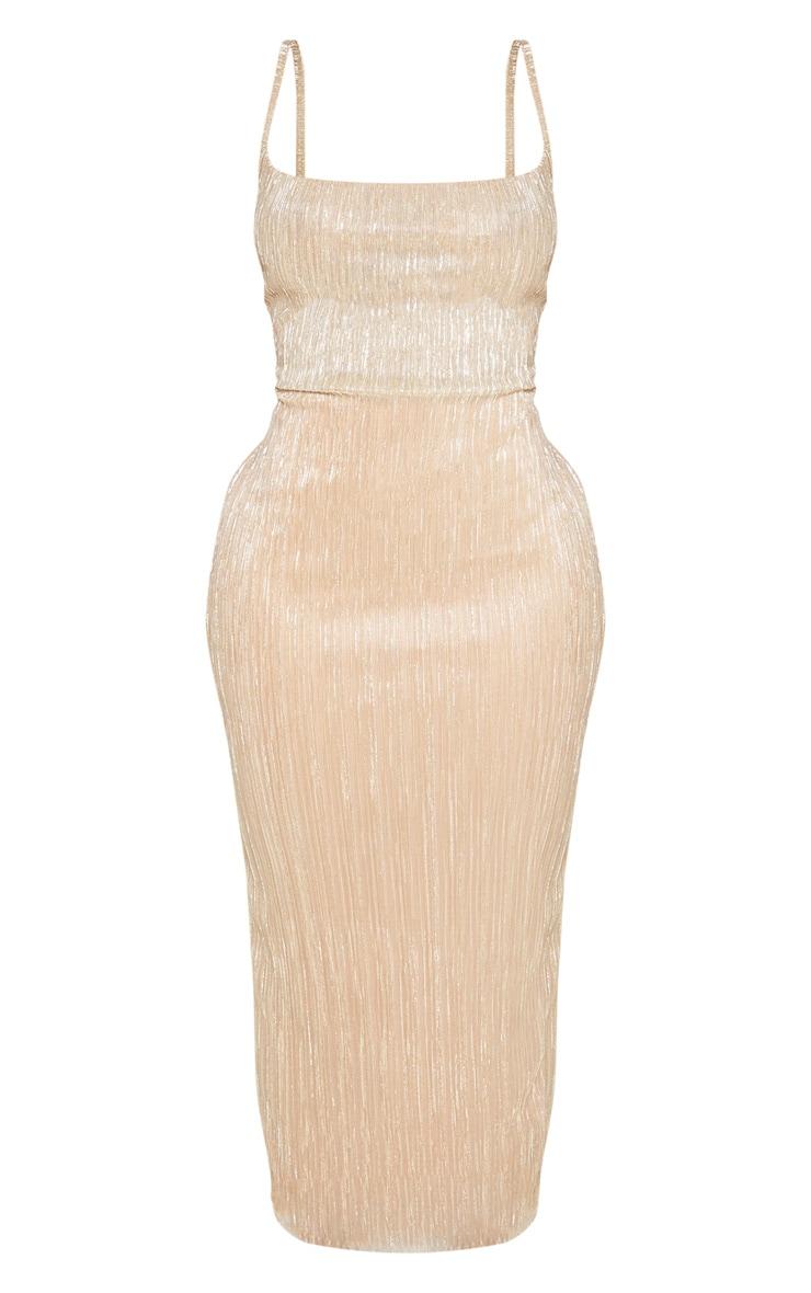 Shape - Longue robe dorée plissée à col bénitier  4
