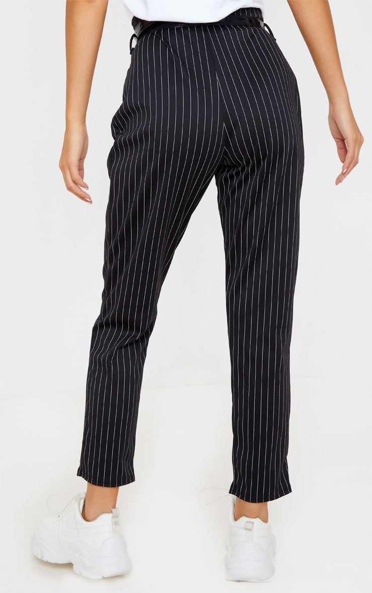 Black Pinstripe Belted Skinny Trousers 4