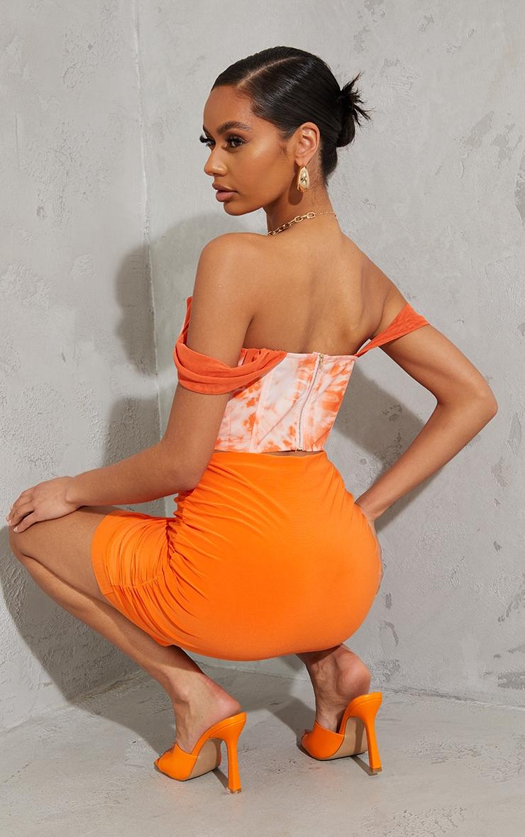 Orange Tie Dye Chiffon Strap Detail Dip Hem Corset 2