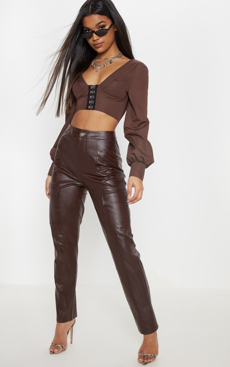 Chocolate Faux Leather Cargo Pocket Straight Leg Trouser  1