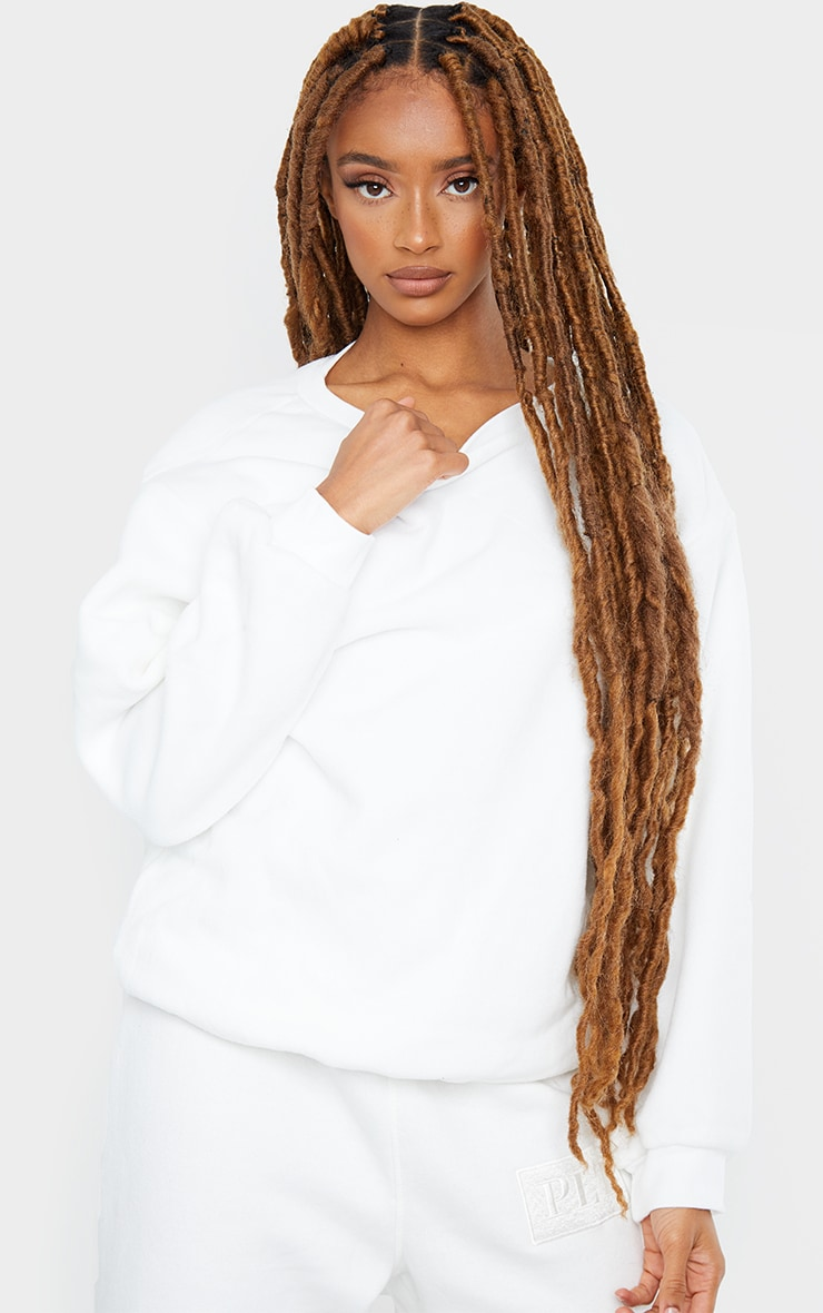 White Fleece Sweatshirt 1
