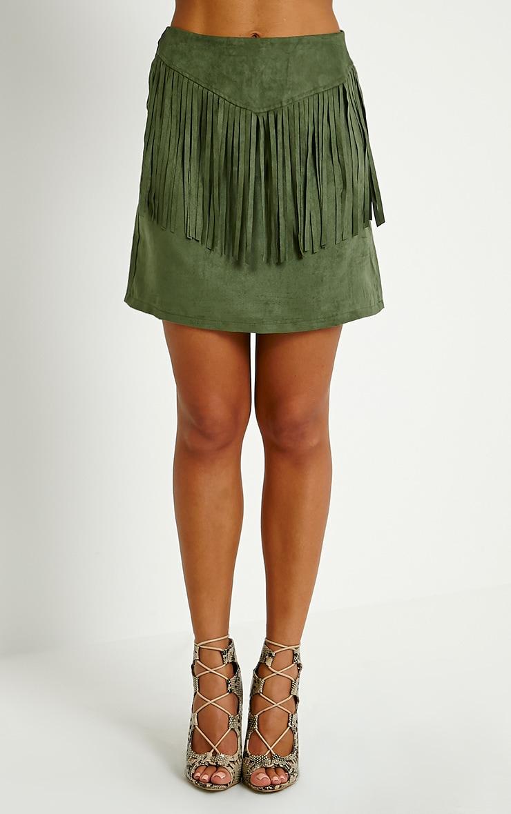 Mariette Khaki Faux Suede Tassel Skirt 2