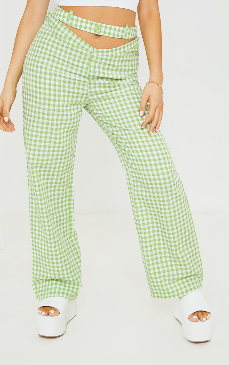Petite Green Gingham  Cut Out Waist Band Detail Trousers 2