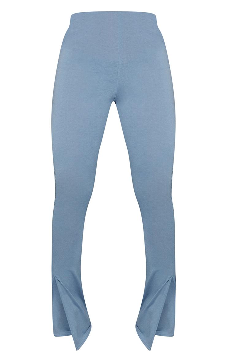 Light Blue Basic Jersey Split Hem Leggings 5