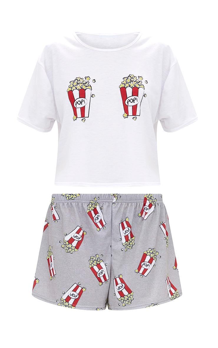 White Popcorn Motif Short PJ Set 5