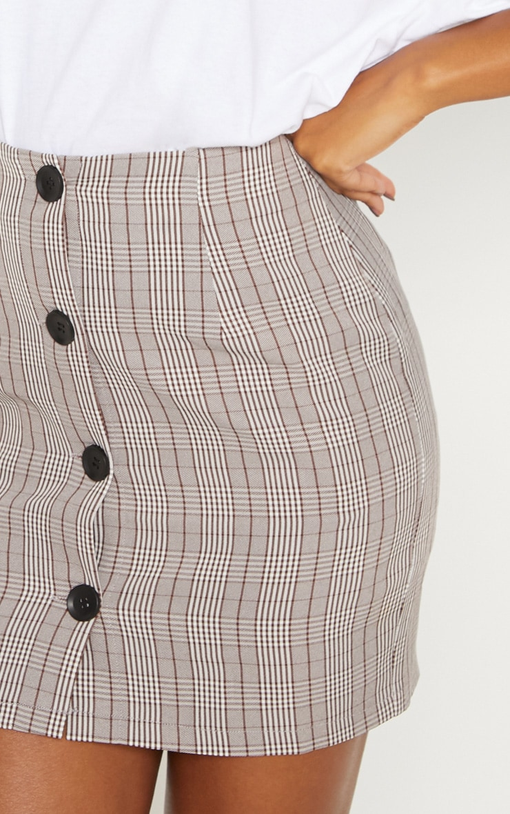 e86d5718a4ab Brown Check Button Up High Waisted Skirt | PrettyLittleThing