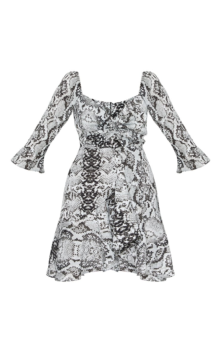 Grey Snake Print V Neck Ruffle Detail Tea Dress 5