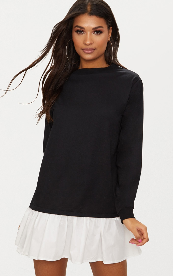 Black Sweater Dress with Poplin Frill 1