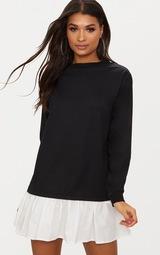 Black Sweatshirt Dress with Poplin Frill 1