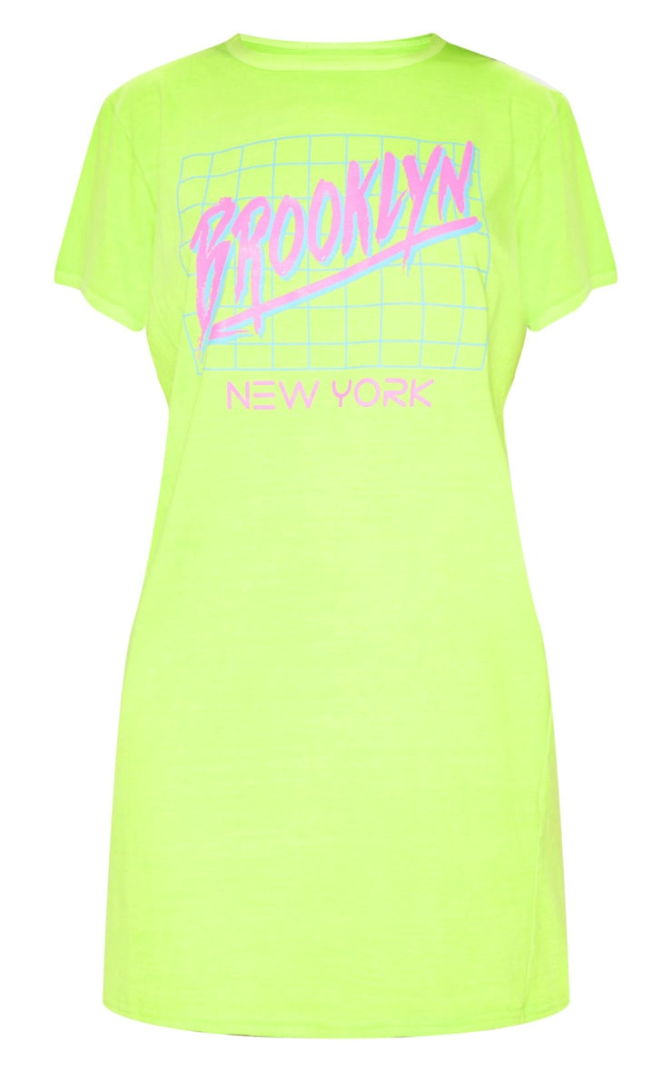 Lime Brooklyn Slogan T Shirt Dress 3