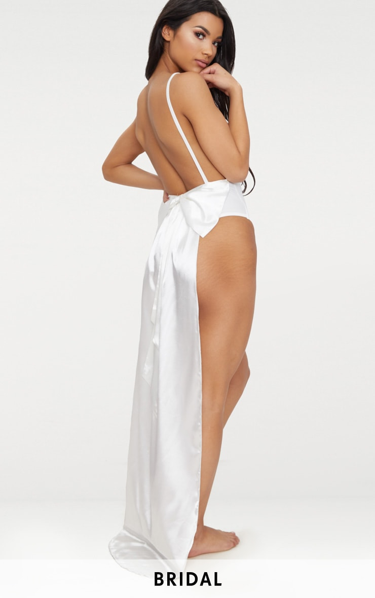 White Bridal Satin Bow Back Swimsuit  1