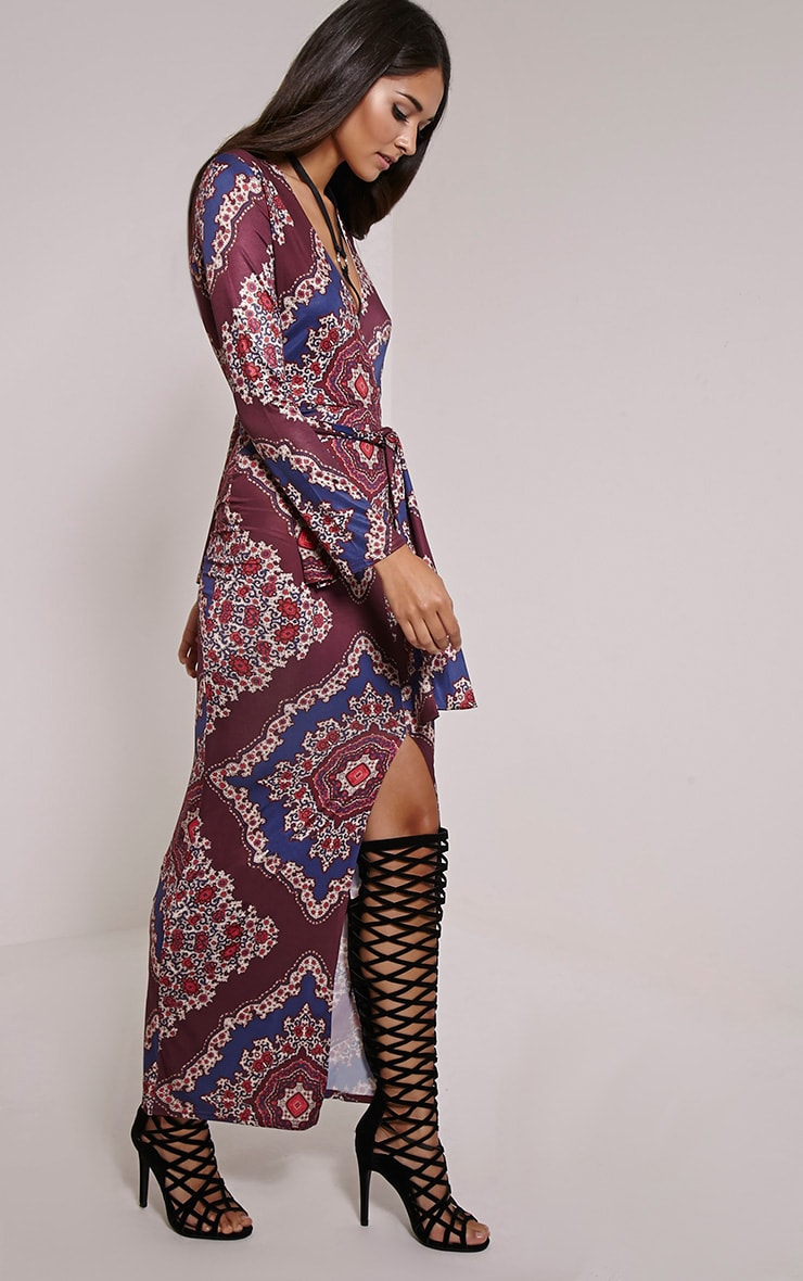 Jayna Printed Wrap Front Tie Waist Maxi Dress 1