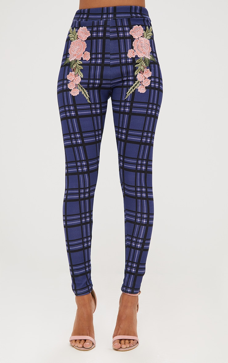 Navy Check Applique Skinny Trousers 2