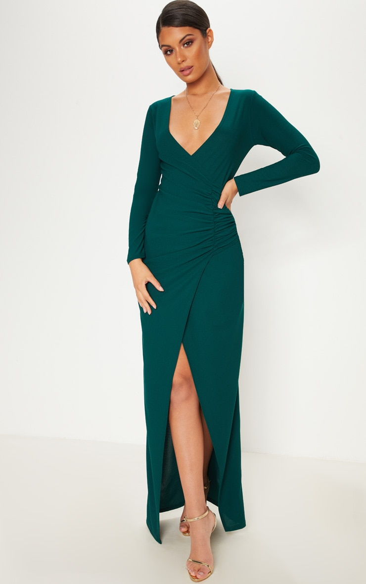 Emerald Green Plunge Ruched Split Leg Maxi Dress 1