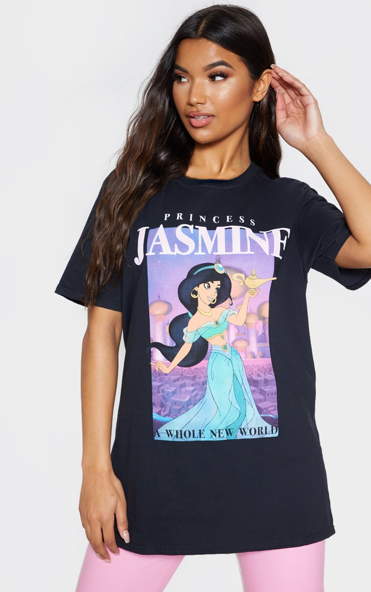 Black Disney Princess Jasmine Print Oversized T shirt 1