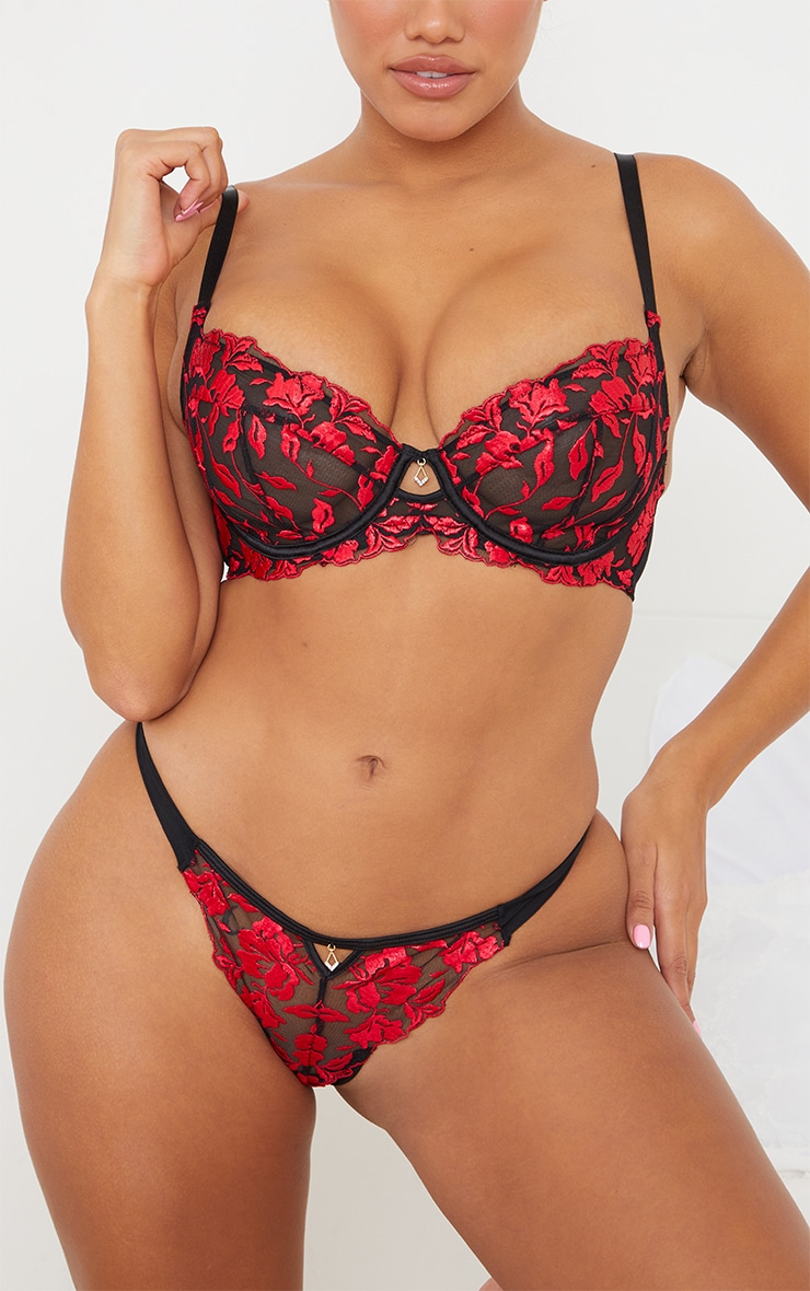 red ann summers floral embroidered lace thong