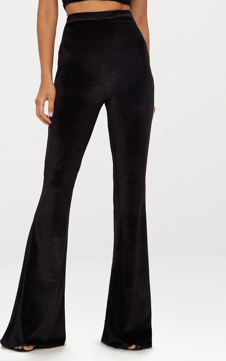 Black Velvet Flared Pants 2