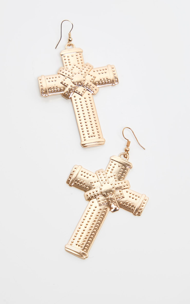 Gold Large Cross Style Earrings 2